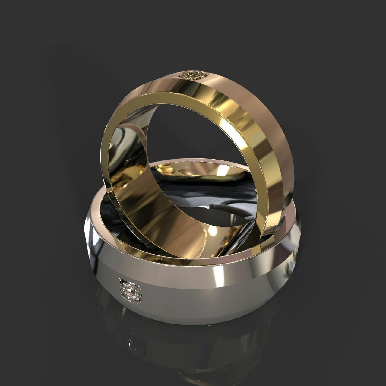 Обручальные кольца с фасками