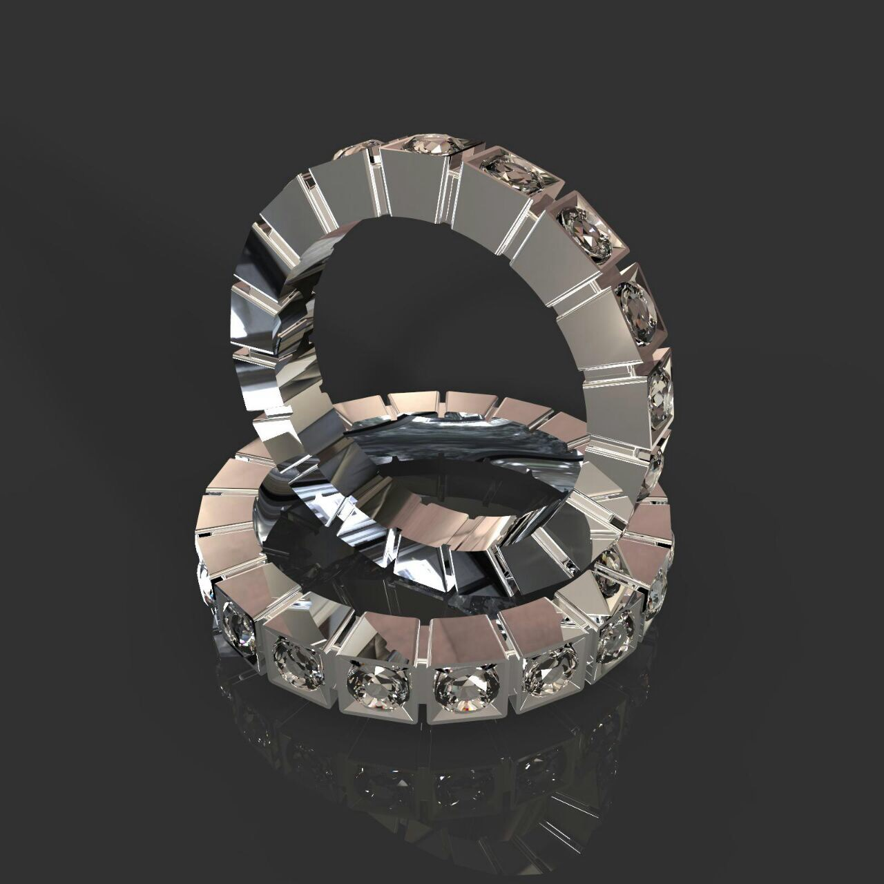 Обручальные кольца с квадратными кастами