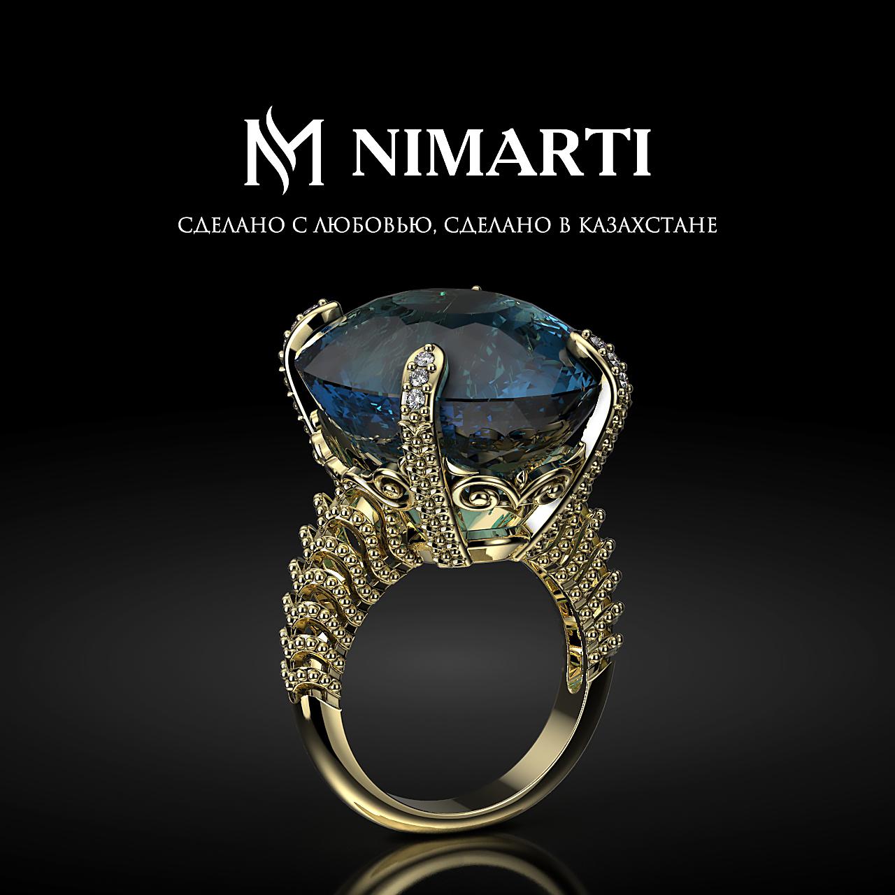 Кольцо с камнем Лондон Топаз и бриллиантами