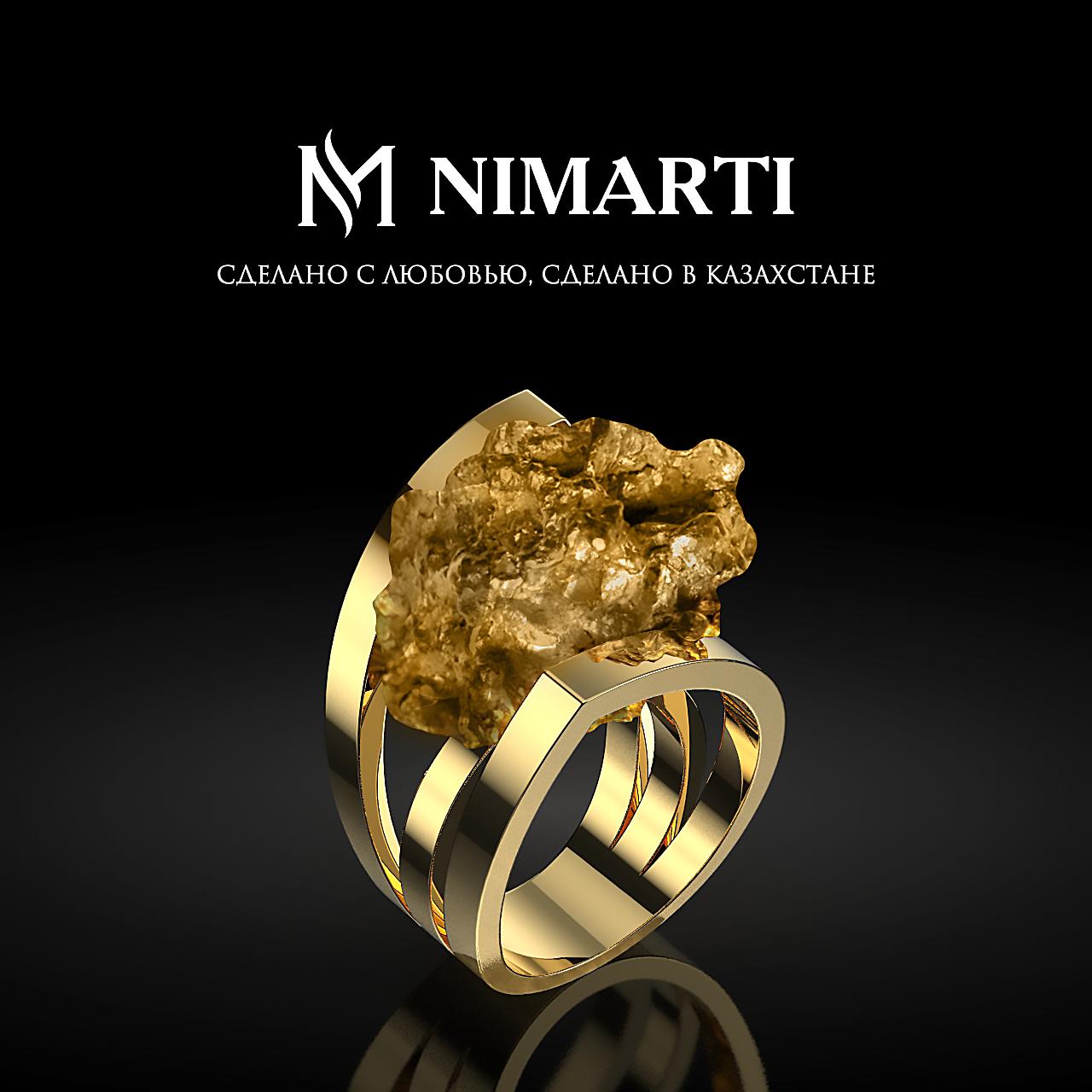 Кольцо с самородком из золота